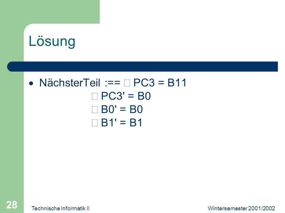 Wintersemester 2001/2002Technische Informatik II 28 Lösung NächsterTeil :== PC3 = B11 PC3' = B0 B0' = B0 B1' = B1