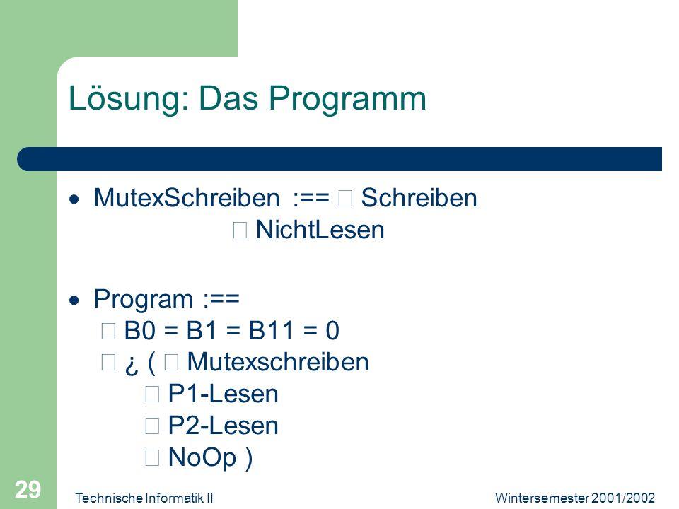 Wintersemester 2001/2002Technische Informatik II 29 Lösung: Das Programm MutexSchreiben :== Schreiben NichtLesen Program :== B0 = B1 = B11 = 0 ¿ ( Mut