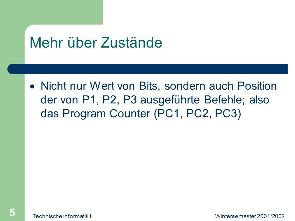 Wintersemester 2001/2002Technische Informatik II 5 Mehr über Zustände Nicht nur Wert von Bits, sondern auch Position der von P1, P2, P3 ausgeführte Befehle; also das Program Counter (PC1, PC2, PC3)