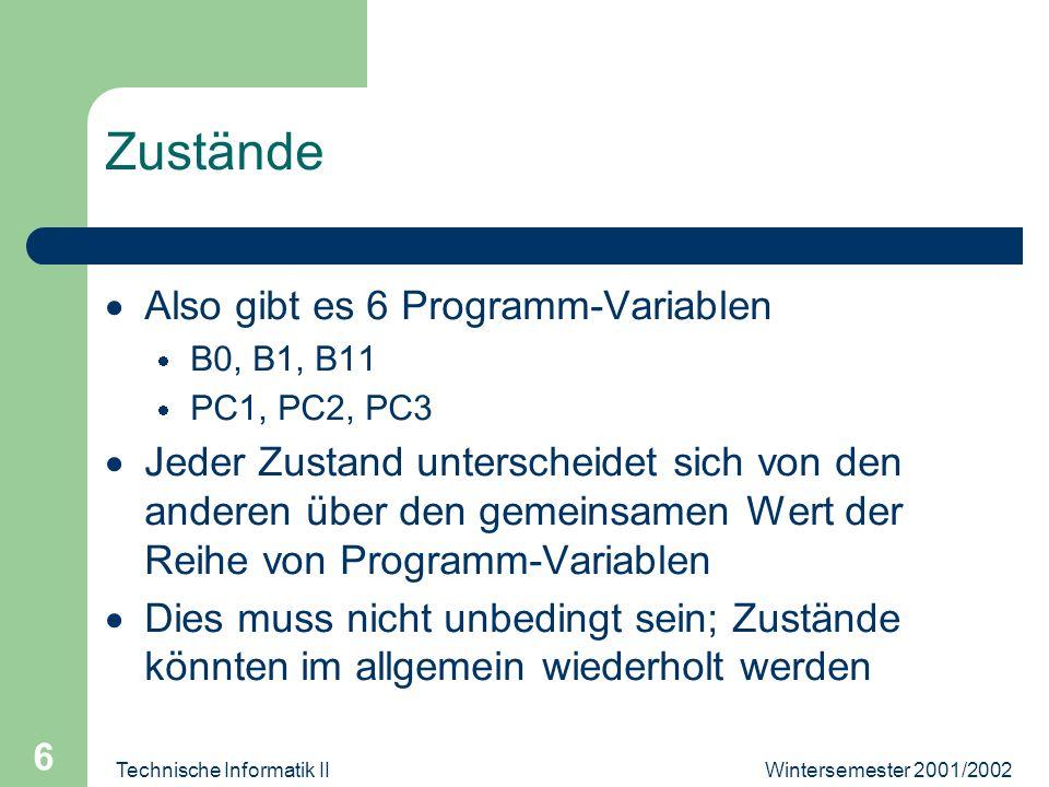 Wintersemester 2001/2002Technische Informatik II 6 Zustände Also gibt es 6 Programm-Variablen B0, B1, B11 PC1, PC2, PC3 Jeder Zustand unterscheidet sich von den anderen über den gemeinsamen Wert der Reihe von Programm-Variablen Dies muss nicht unbedingt sein; Zustände könnten im allgemein wiederholt werden