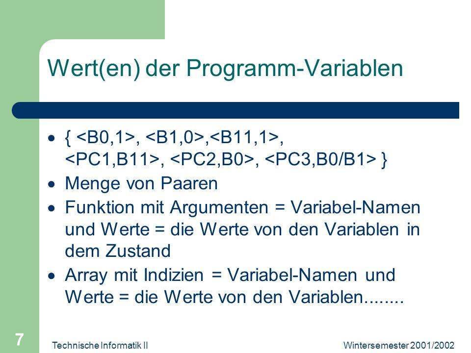 Wintersemester 2001/2002Technische Informatik II 7 Wert(en) der Programm-Variablen {,,,,, } Menge von Paaren Funktion mit Argumenten = Variabel-Namen und Werte = die Werte von den Variablen in dem Zustand Array mit Indizien = Variabel-Namen und Werte = die Werte von den Variablen........