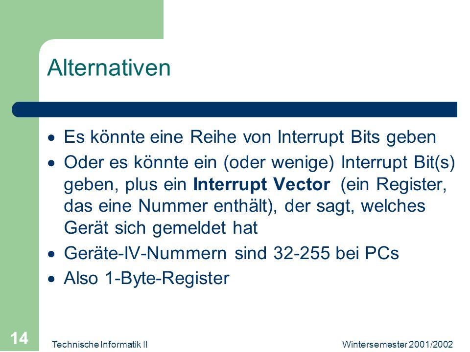 Wintersemester 2001/2002Technische Informatik II 14 Alternativen Es könnte eine Reihe von Interrupt Bits geben Oder es könnte ein (oder wenige) Interrupt Bit(s) geben, plus ein Interrupt Vector (ein Register, das eine Nummer enthält), der sagt, welches Gerät sich gemeldet hat Geräte-IV-Nummern sind 32-255 bei PCs Also 1-Byte-Register