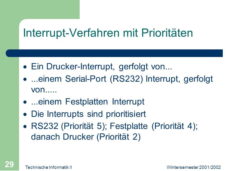 Wintersemester 2001/2002Technische Informatik II 29 Interrupt-Verfahren mit Prioritäten Ein Drucker-Interrupt, gerfolgt von......einem Serial-Port (RS232) Interrupt, gerfolgt von........einem Festplatten Interrupt Die Interrupts sind prioritisiert RS232 (Priorität 5); Festplatte (Priorität 4); danach Drucker (Priorität 2)