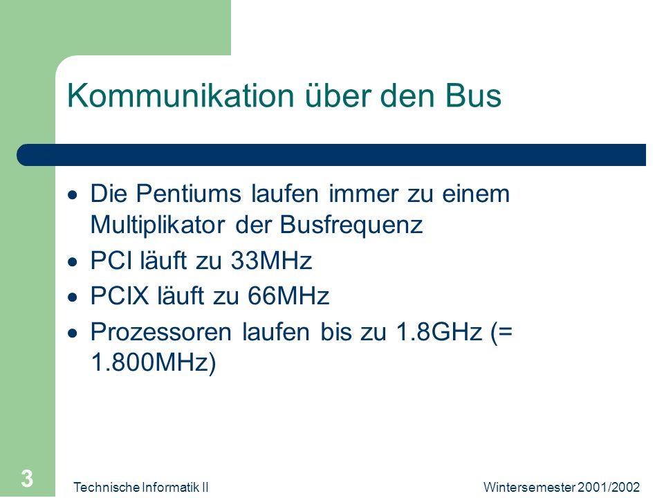 Wintersemester 2001/2002Technische Informatik II 3 Kommunikation über den Bus Die Pentiums laufen immer zu einem Multiplikator der Busfrequenz PCI läuft zu 33MHz PCIX läuft zu 66MHz Prozessoren laufen bis zu 1.8GHz (= 1.800MHz)