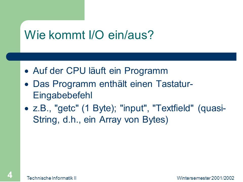 Wintersemester 2001/2002Technische Informatik II 4 Wie kommt I/O ein/aus? Auf der CPU läuft ein Programm Das Programm enthält einen Tastatur- Eingabeb