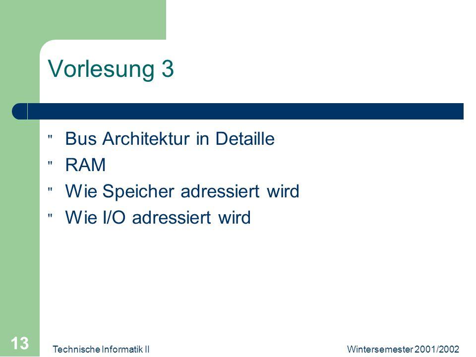 Wintersemester 2001/2002Technische Informatik II 13 Vorlesung 3 Bus Architektur in Detaille RAM Wie Speicher adressiert wird Wie I/O adressiert wird