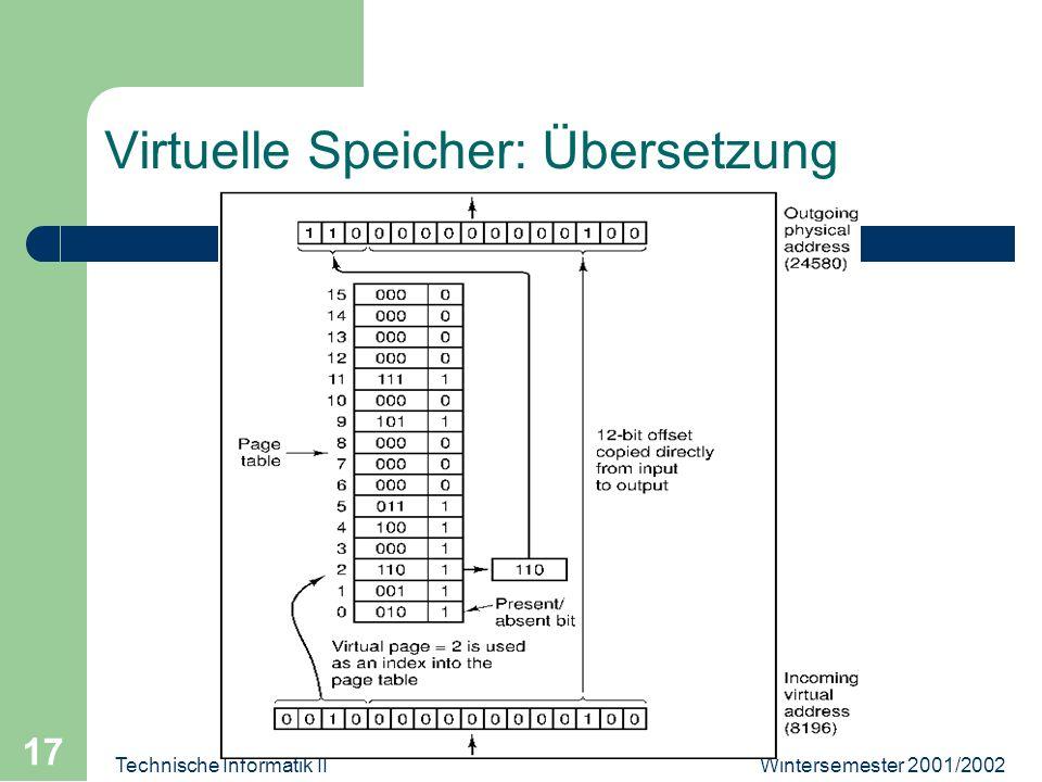 Wintersemester 2001/2002Technische Informatik II 17 Virtuelle Speicher: Übersetzung