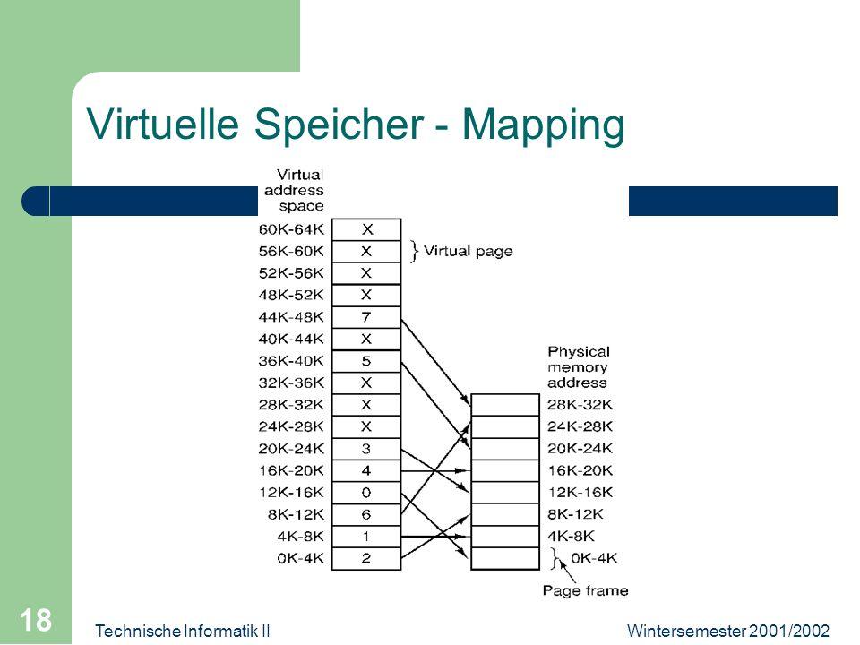 Wintersemester 2001/2002Technische Informatik II 18 Virtuelle Speicher - Mapping