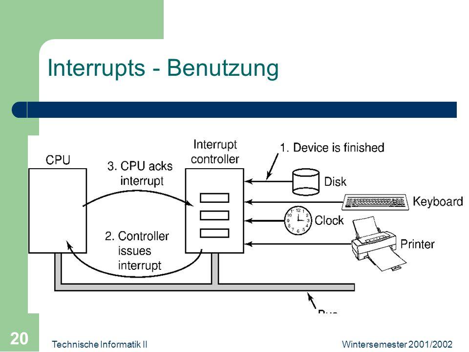 Wintersemester 2001/2002Technische Informatik II 20 Interrupts - Benutzung