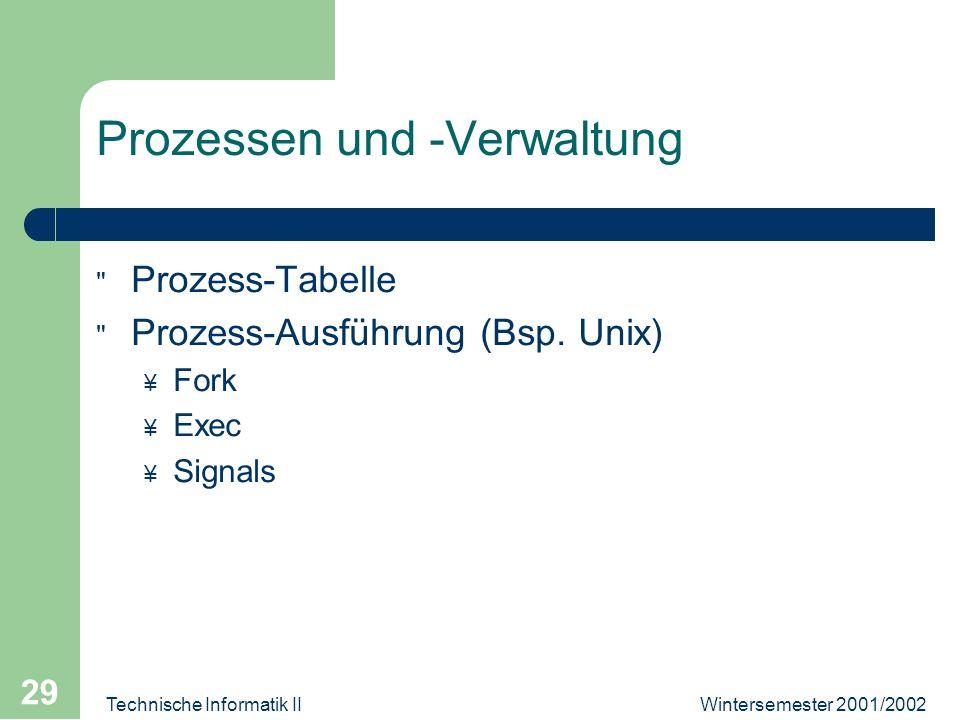 Wintersemester 2001/2002Technische Informatik II 29 Prozessen und -Verwaltung Prozess-Tabelle Prozess-Ausführung (Bsp.