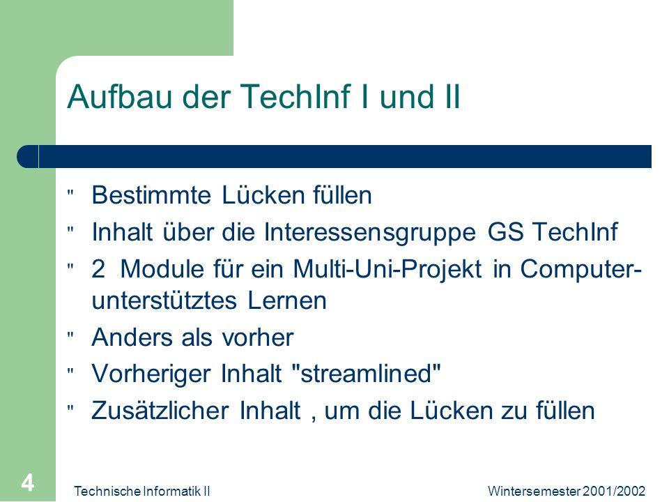 Wintersemester 2001/2002Technische Informatik II 4 Aufbau der TechInf I und II