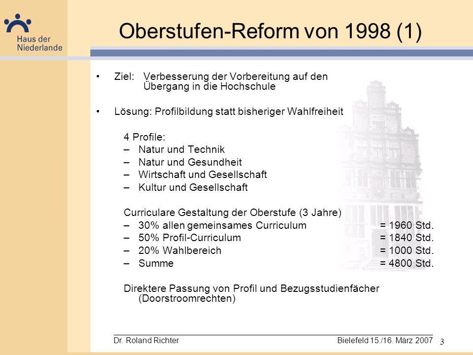 3 Oberstufen-Reform von 1998 (1) Ziel:Verbesserung der Vorbereitung auf den Übergang in die Hochschule Lösung: Profilbildung statt bisheriger Wahlfrei