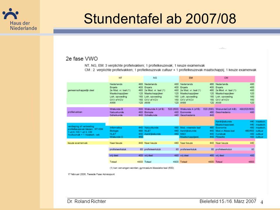 4 Stundentafel ab 2007/08 _________________________________________________________________________ Dr. Roland Richter Bielefeld 15./16. März 2007