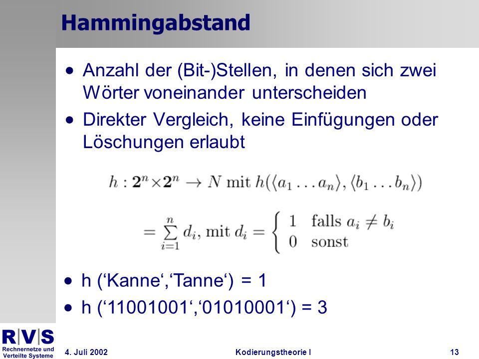 4. Juli 2002Kodierungstheorie I13 Hammingabstand Anzahl der (Bit-)Stellen, in denen sich zwei Wörter voneinander unterscheiden Direkter Vergleich, kei