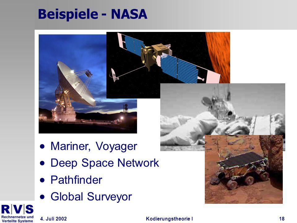 4. Juli 2002Kodierungstheorie I18 Beispiele - NASA Mariner, Voyager Deep Space Network Pathfinder Global Surveyor