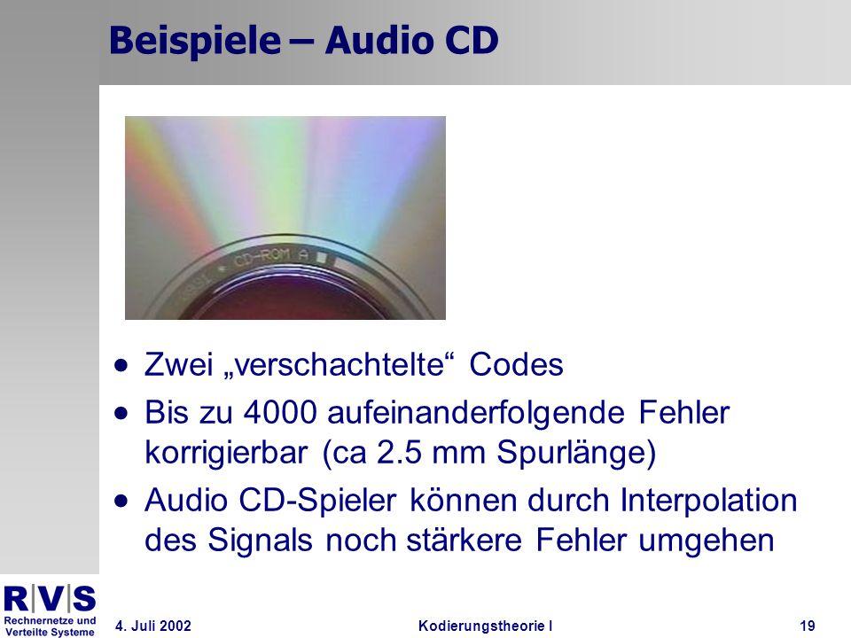 4. Juli 2002Kodierungstheorie I19 Beispiele – Audio CD Zwei verschachtelte Codes Bis zu 4000 aufeinanderfolgende Fehler korrigierbar (ca 2.5 mm Spurlä