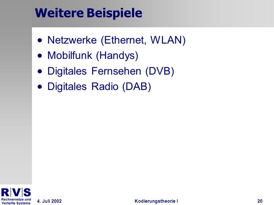 4. Juli 2002Kodierungstheorie I20 Weitere Beispiele Netzwerke (Ethernet, WLAN) Mobilfunk (Handys) Digitales Fernsehen (DVB) Digitales Radio (DAB)