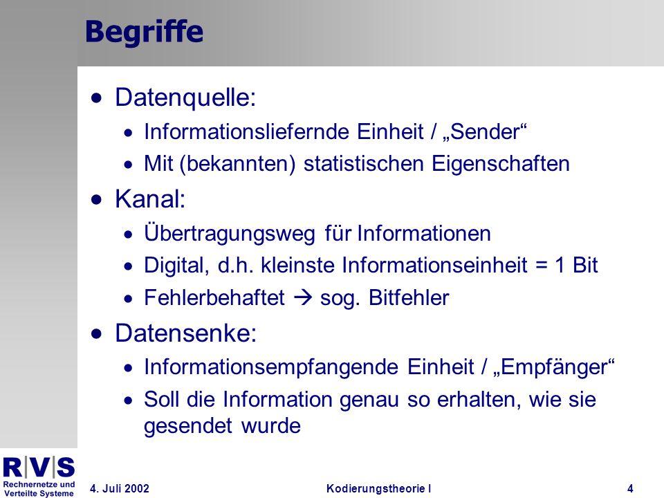 4. Juli 2002Kodierungstheorie I4 Begriffe Datenquelle: Informationsliefernde Einheit / Sender Mit (bekannten) statistischen Eigenschaften Kanal: Übert