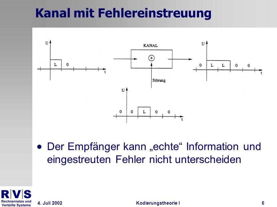 4. Juli 2002Kodierungstheorie I5 Kanal mit Fehlereinstreuung Der Empfänger kann echte Information und eingestreuten Fehler nicht unterscheiden