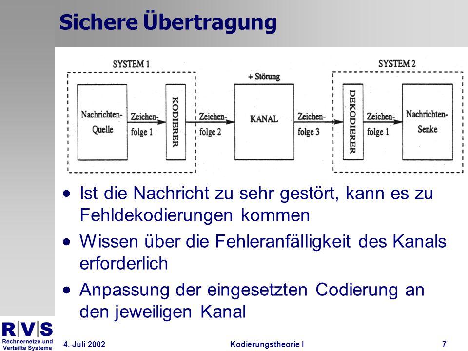 4. Juli 2002Kodierungstheorie I7 Sichere Übertragung Ist die Nachricht zu sehr gestört, kann es zu Fehldekodierungen kommen Wissen über die Fehleranfä