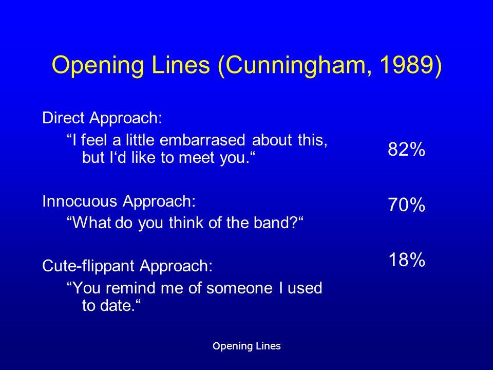 Opening Lines Fragestellungen (1)Nach welchen psychologisch relevanten Kriterien lassen sich Opening Lines klassifizieren.