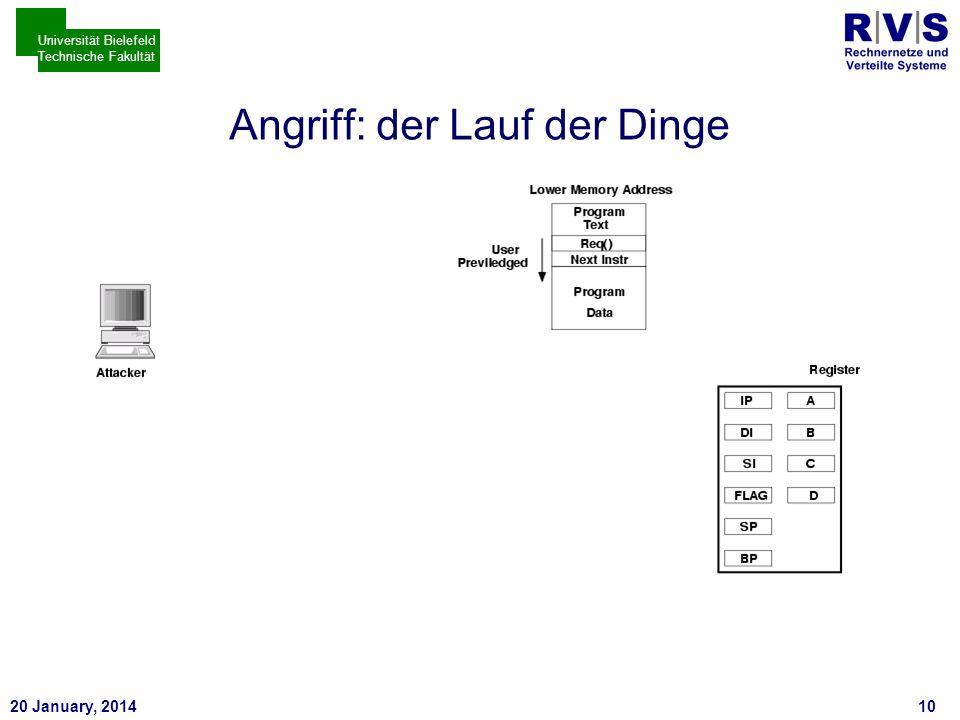 * 20 January, 201410 Universität Bielefeld Technische Fakultät Angriff: der Lauf der Dinge