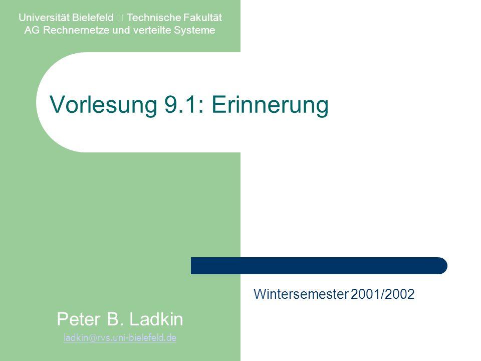 Vorlesung 9.1: Erinnerung Universität Bielefeld – Technische Fakultät AG Rechnernetze und verteilte Systeme Peter B.