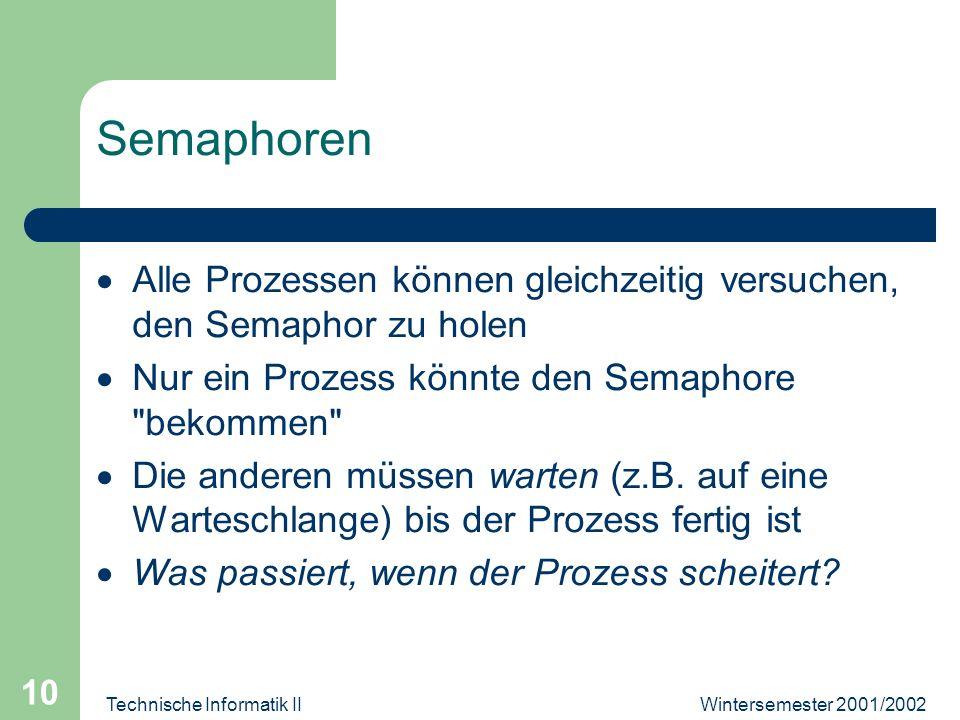 Wintersemester 2001/2002Technische Informatik II 10 Semaphoren Alle Prozessen können gleichzeitig versuchen, den Semaphor zu holen Nur ein Prozess könnte den Semaphore bekommen Die anderen müssen warten (z.B.