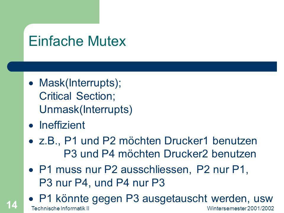 Wintersemester 2001/2002Technische Informatik II 14 Einfache Mutex Mask(Interrupts); Critical Section; Unmask(Interrupts) Ineffizient z.B., P1 und P2 möchten Drucker1 benutzen P3 und P4 möchten Drucker2 benutzen P1 muss nur P2 ausschliessen, P2 nur P1, P3 nur P4, und P4 nur P3 P1 könnte gegen P3 ausgetauscht werden, usw