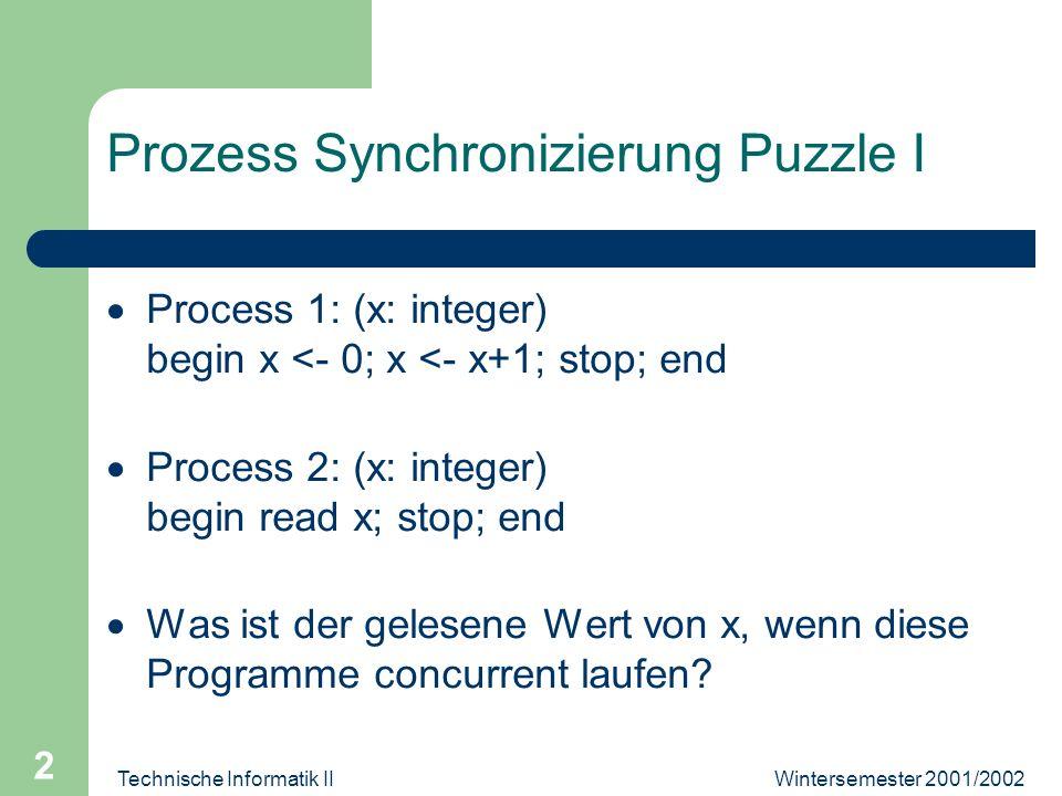 Wintersemester 2001/2002Technische Informatik II 3 Prozess Synchnozierung Puzzle 2 Prozess 1: (x: integer) begin x <- 0; x <- x+1; stop; end Prozess 2: (x,y: integer) begin y <- 0; y <- x+1; stop; end Voraussetzung: Memory Platz x ist dergleiche als Memory Platz y Werte von x, y an Ende?