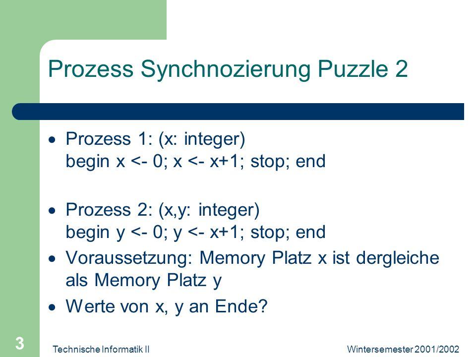 Wintersemester 2001/2002Technische Informatik II 4 Prozess Synchronizierung Puzzle 3 Wert von der Variabel z ist 1, falls es existieren 20 Blöcke freiverfügbarem Speicher;...ist 2, falls es...< 20 Blöcke....
