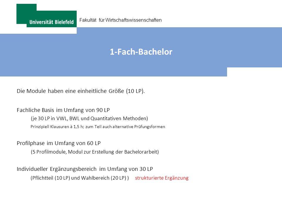 Fakultät für Wirtschaftswissenschaften 1-Fach-Bachelor Die Module haben eine einheitliche Größe (10 LP). Fachliche Basis im Umfang von 90 LP (je 30 LP
