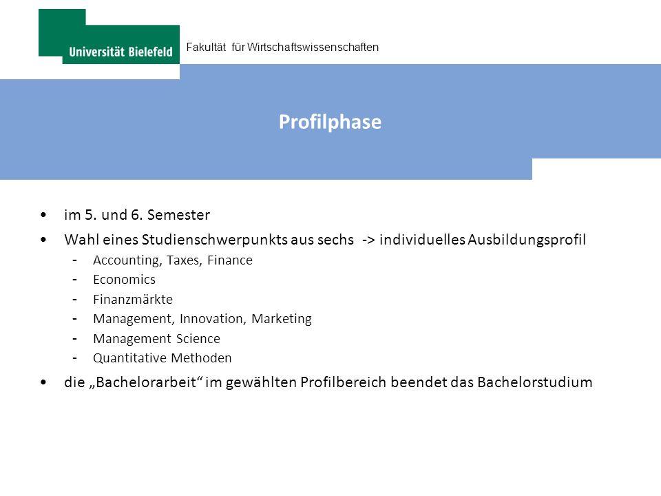 Fakultät für Wirtschaftswissenschaften Profilphase im 5. und 6. Semester Wahl eines Studienschwerpunkts aus sechs -> individuelles Ausbildungsprofil -