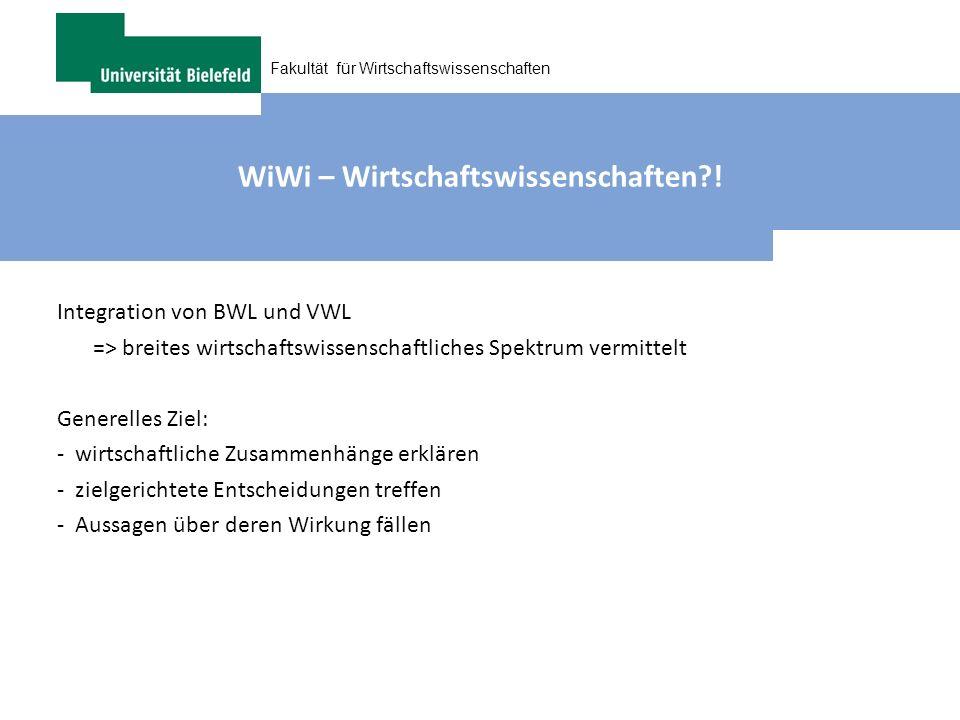 Fakultät für Wirtschaftswissenschaften WiWi – Wirtschaftswissenschaften?! Integration von BWL und VWL => breites wirtschaftswissenschaftliches Spektru