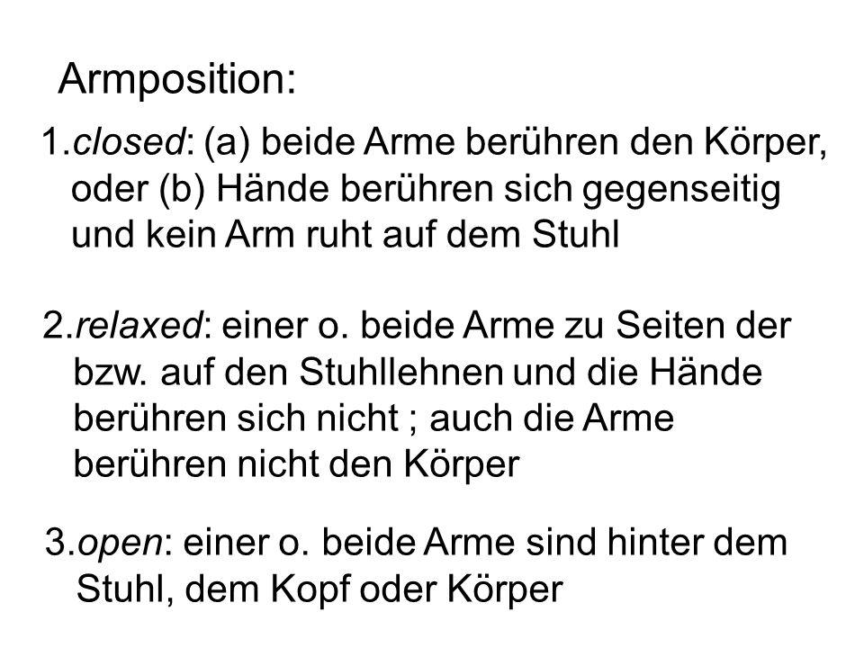Armposition: 1.closed: (a) beide Arme berühren den Körper, oder (b) Hände berühren sich gegenseitig und kein Arm ruht auf dem Stuhl 2.relaxed: einer o