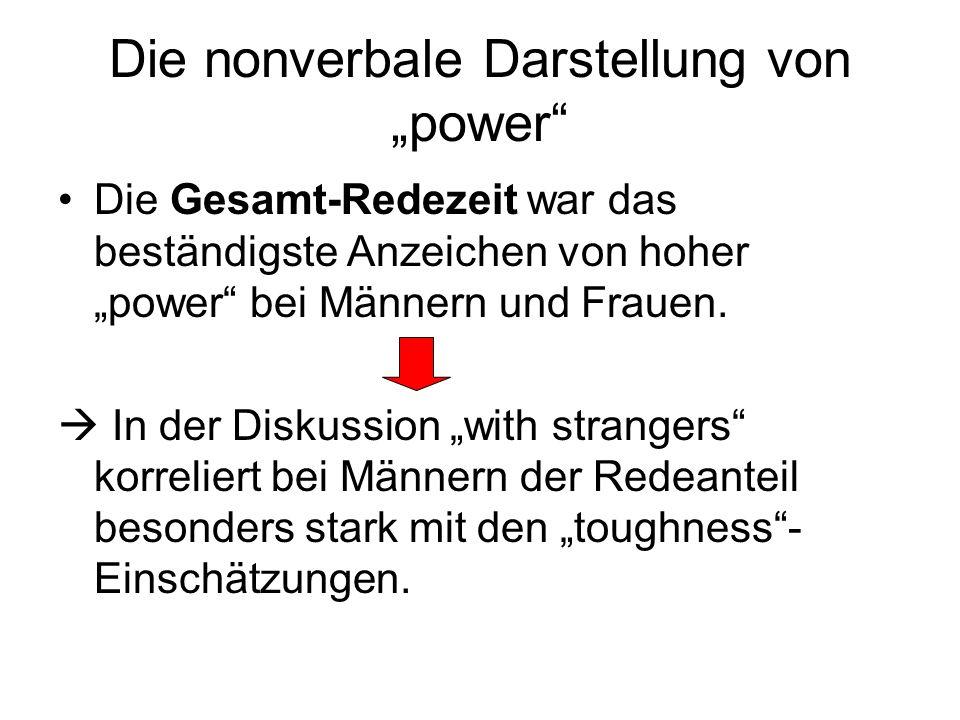 Die nonverbale Darstellung von power Die Gesamt-Redezeit war das beständigste Anzeichen von hoher power bei Männern und Frauen. In der Diskussion with