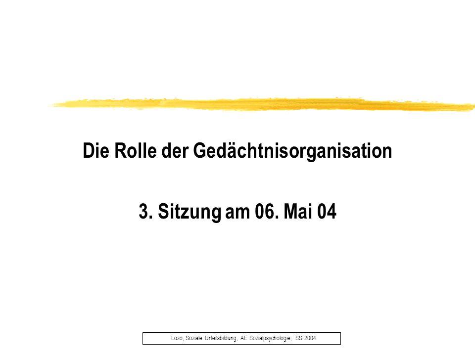 Lozo, Soziale Urteilsbildung, AE Sozialpsychologie, SS 2004 Die Rolle der Gedächtnisorganisation 3. Sitzung am 06. Mai 04