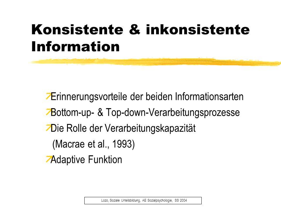 Konsistente & inkonsistente Information Lozo, Soziale Urteilsbildung, AE Sozialpsychologie, SS 2004 äErinnerungsvorteile der beiden Informationsarten
