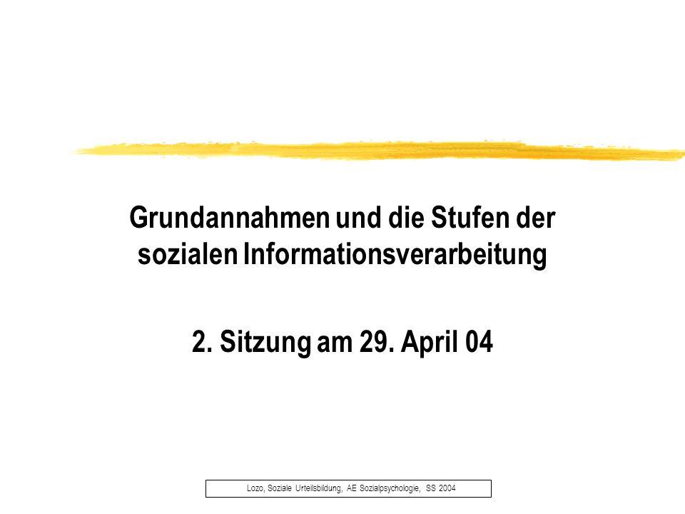 Lozo, Soziale Urteilsbildung, AE Sozialpsychologie, SS 2004 Grundannahmen und die Stufen der sozialen Informationsverarbeitung 2. Sitzung am 29. April