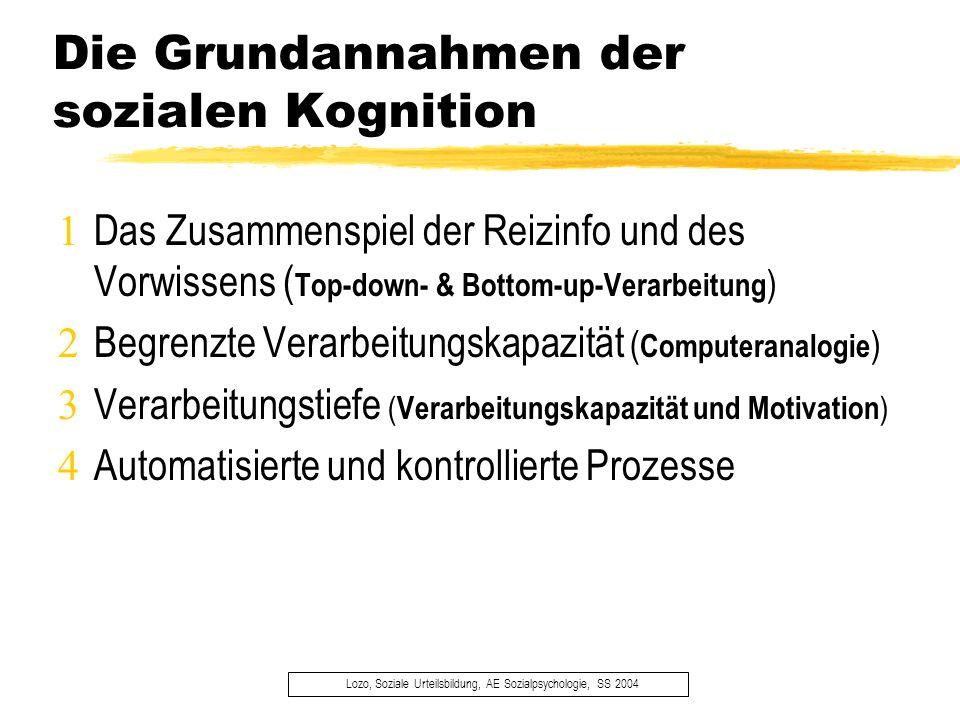 Die Grundannahmen der sozialen Kognition Lozo, Soziale Urteilsbildung, AE Sozialpsychologie, SS 2004 Das Zusammenspiel der Reizinfo und des Vorwissens