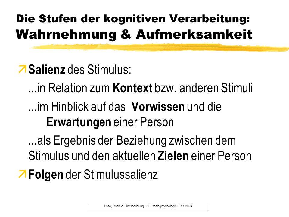 Die Stufen der kognitiven Verarbeitung: Wahrnehmung & Aufmerksamkeit Lozo, Soziale Urteilsbildung, AE Sozialpsychologie, SS 2004 ä Salienz des Stimulu