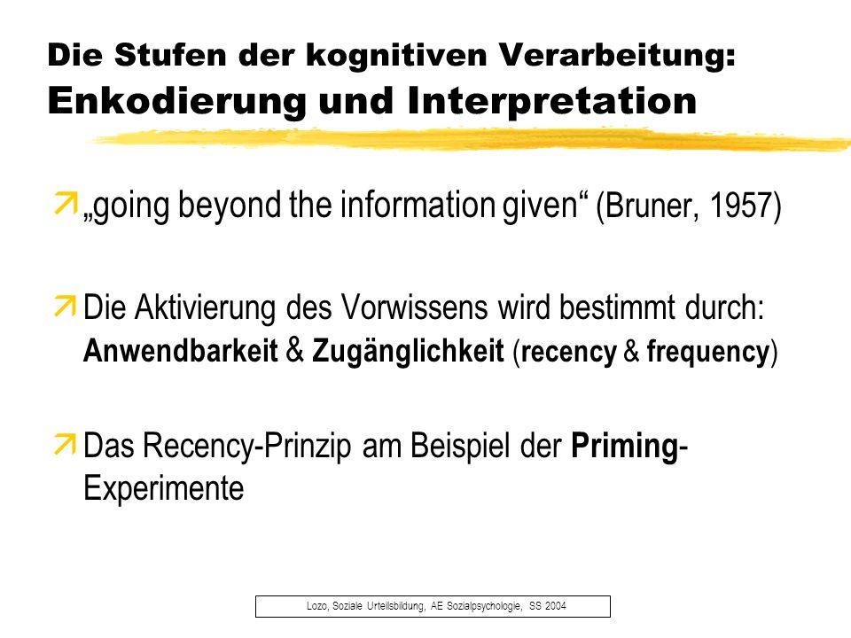 Die Stufen der kognitiven Verarbeitung: Enkodierung und Interpretation Lozo, Soziale Urteilsbildung, AE Sozialpsychologie, SS 2004 ägoing beyond the i