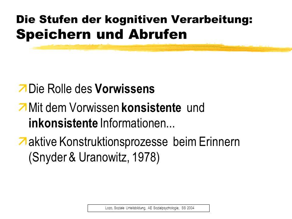 Die Stufen der kognitiven Verarbeitung: Speichern und Abrufen Lozo, Soziale Urteilsbildung, AE Sozialpsychologie, SS 2004 äDie Rolle des Vorwissens äM