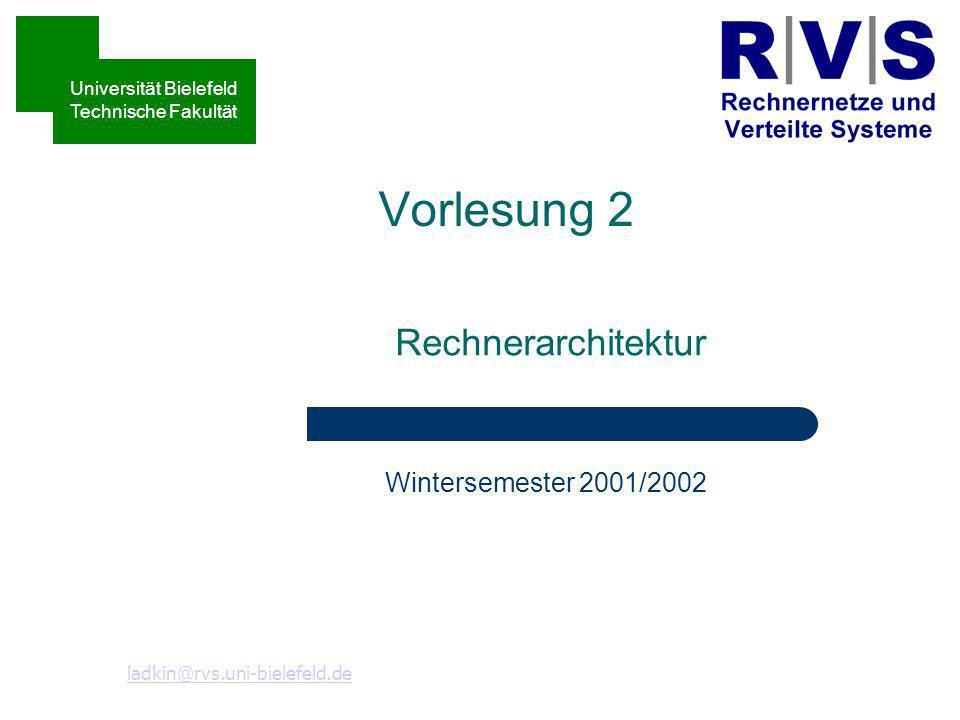 Speicherverwaltung Technische Informatik II Wintersemester 2002/03 Heiko Holtkamp Heiko@rvs.uni-bielefeld.de Sommersemester 2001 Universität Bielefeld Technische Fakultät