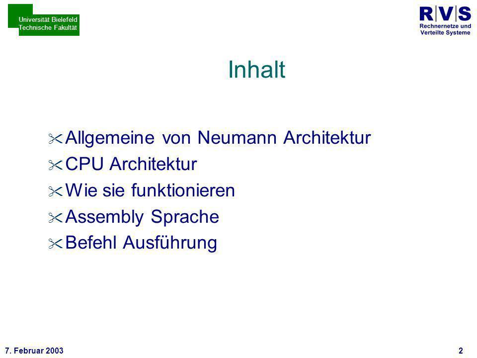 * 7. Februar 200333 Universität Bielefeld Technische Fakultät TCP/IP im Vergleich zu OSI