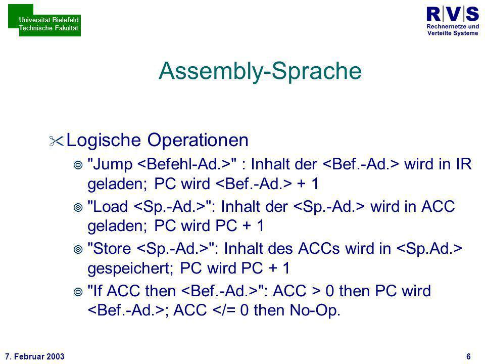 * 7. Februar 20037 Universität Bielefeld Technische Fakultät CPU des DEPs