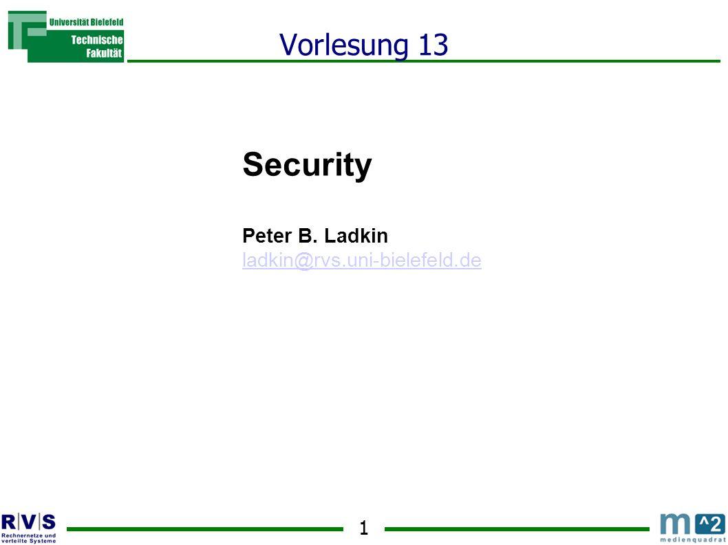 1 Vorlesung 13 Security Peter B. Ladkin ladkin@rvs.uni-bielefeld.de Sommersemester 2001