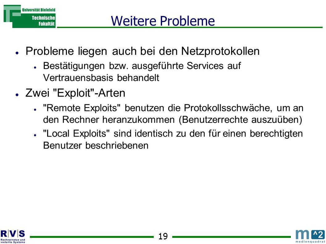 19 Weitere Probleme Probleme liegen auch bei den Netzprotokollen Bestätigungen bzw.