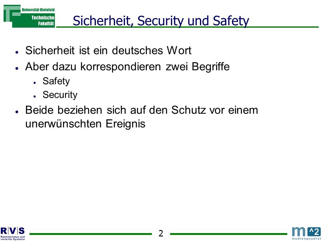 2 Sicherheit, Security und Safety Sicherheit ist ein deutsches Wort Aber dazu korrespondieren zwei Begriffe Safety Security Beide beziehen sich auf den Schutz vor einem unerwünschten Ereignis