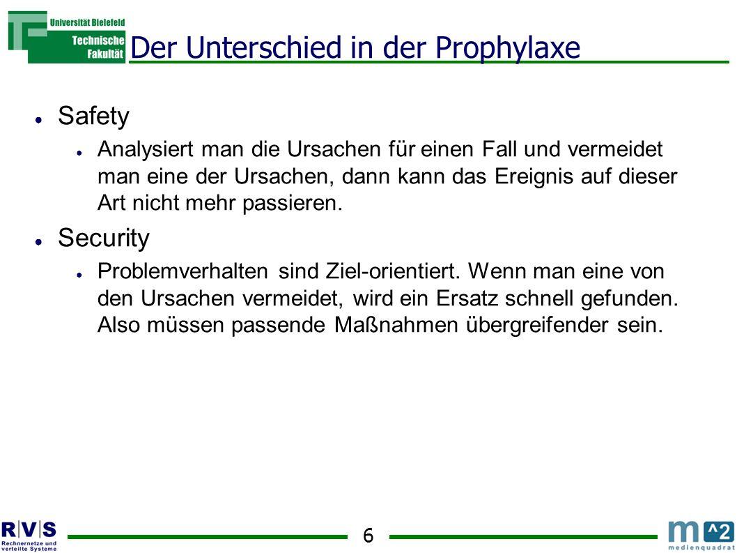 6 Der Unterschied in der Prophylaxe Safety Analysiert man die Ursachen für einen Fall und vermeidet man eine der Ursachen, dann kann das Ereignis auf dieser Art nicht mehr passieren.
